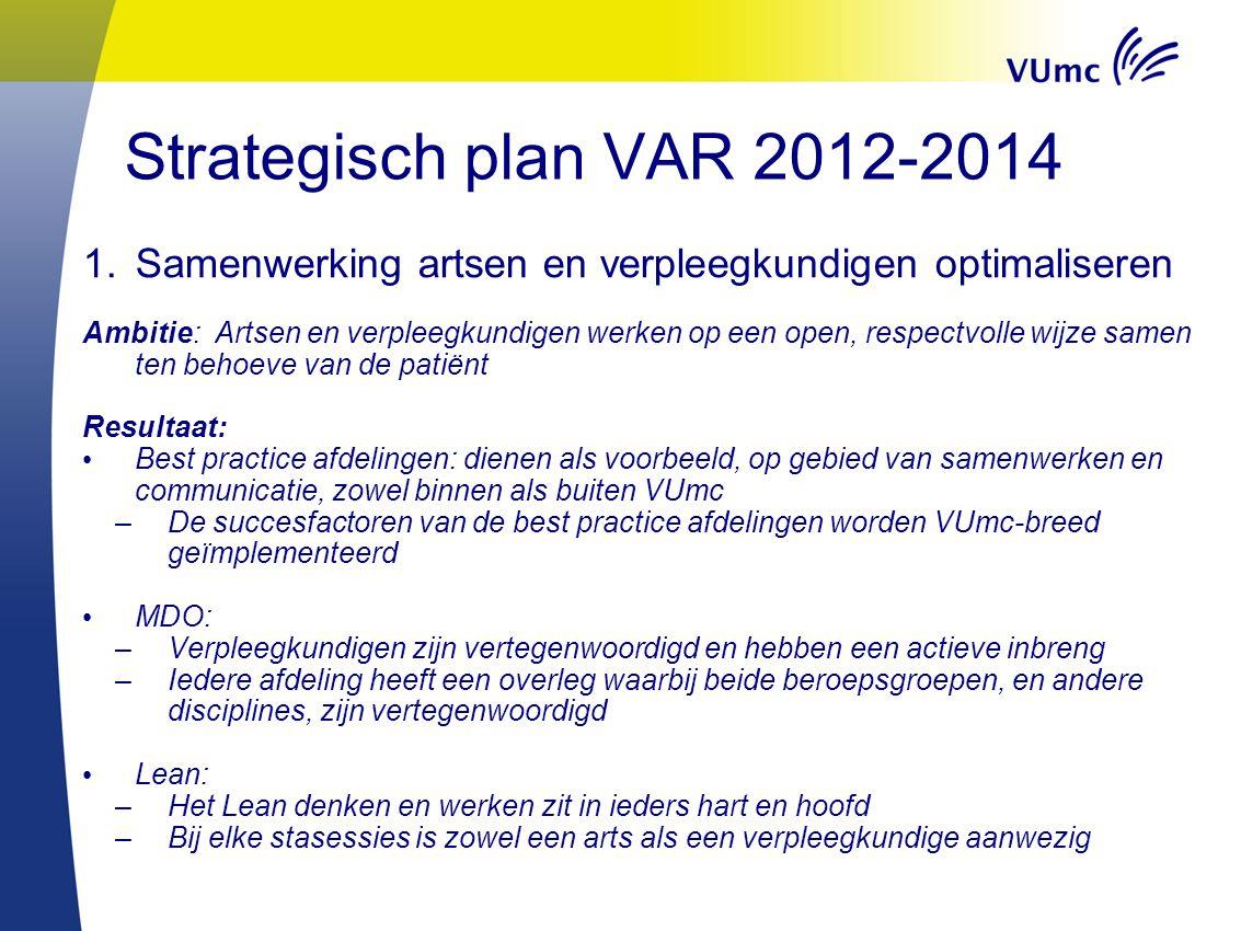 Strategisch plan VAR 2012-2014 Samenwerking artsen en verpleegkundigen optimaliseren.