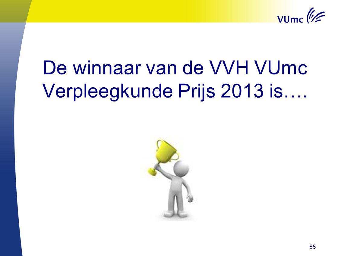 De winnaar van de VVH VUmc Verpleegkunde Prijs 2013 is….