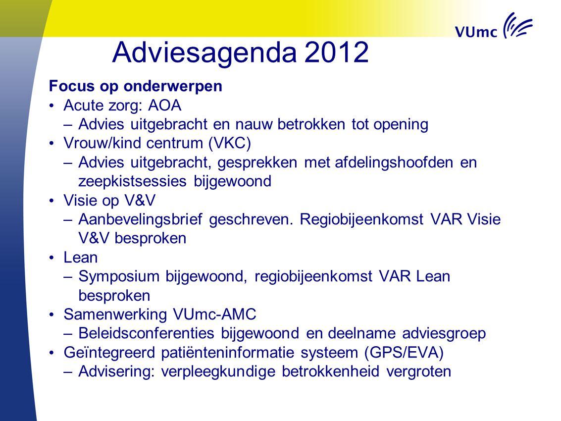 Adviesagenda 2012 Focus op onderwerpen Acute zorg: AOA