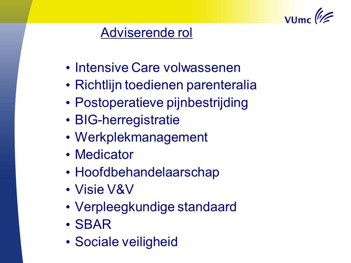 Adviserende rol Intensive Care volwassenen. Richtlijn toedienen parenteralia. Postoperatieve pijnbestrijding.