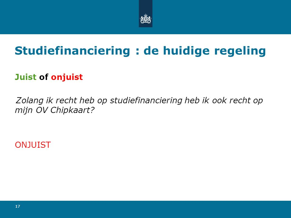 Studiefinanciering : de huidige regeling