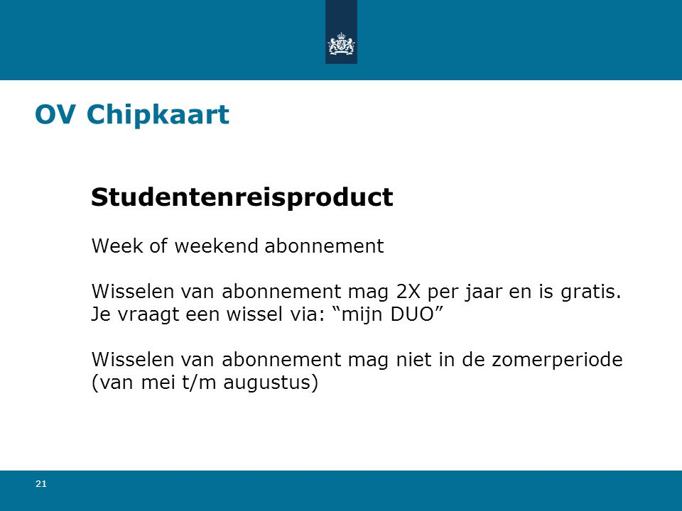OV Chipkaart Studentenreisproduct Week of weekend abonnement