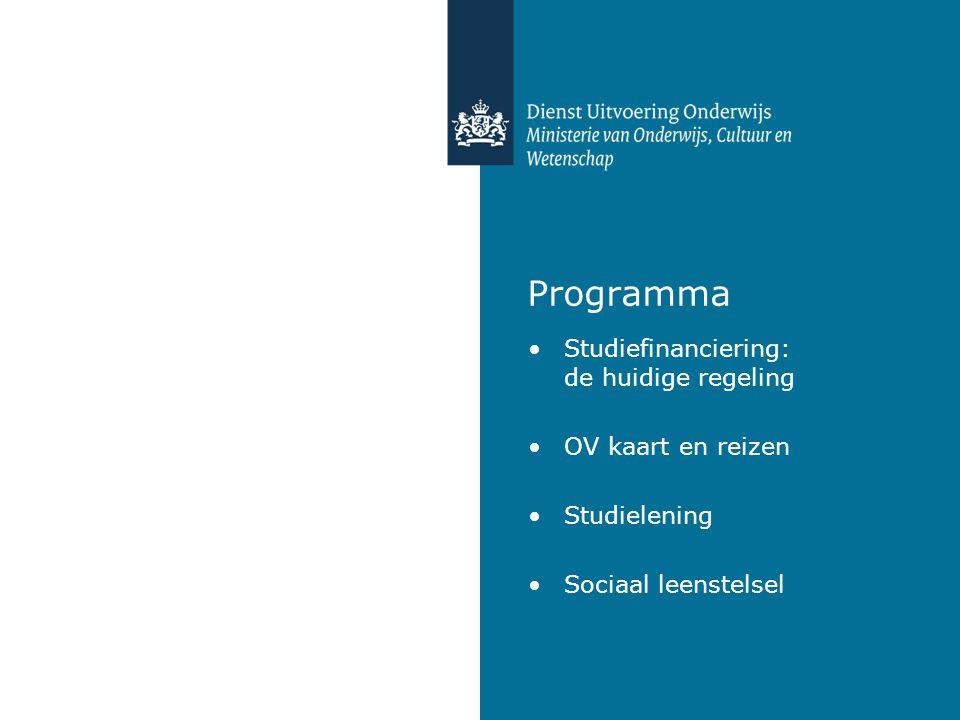 Programma Studiefinanciering: de huidige regeling OV kaart en reizen