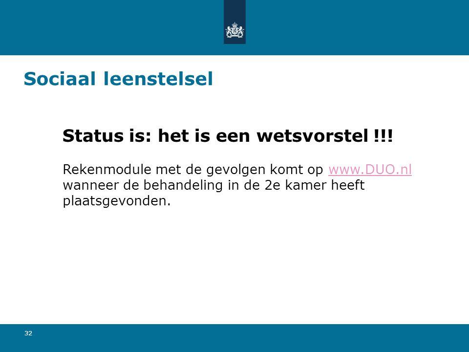 Sociaal leenstelsel Status is: het is een wetsvorstel !!!