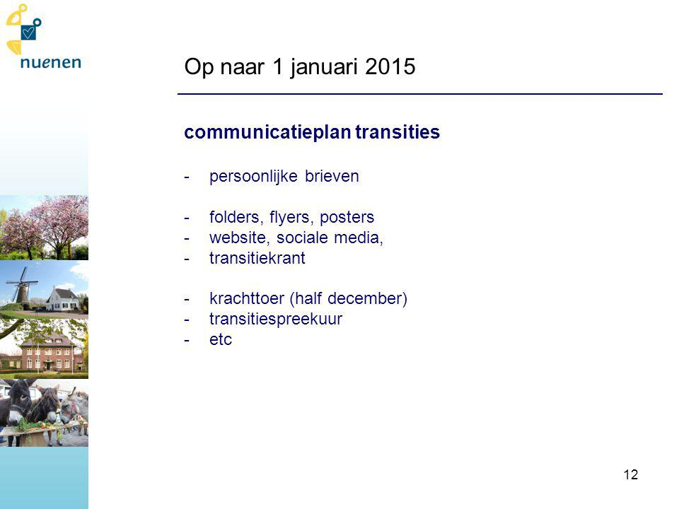 Op naar 1 januari 2015 communicatieplan transities