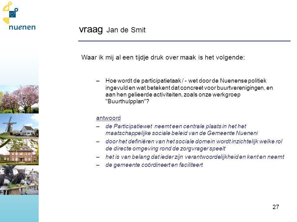 vraag Jan de Smit Waar ik mij al een tijdje druk over maak is het volgende: