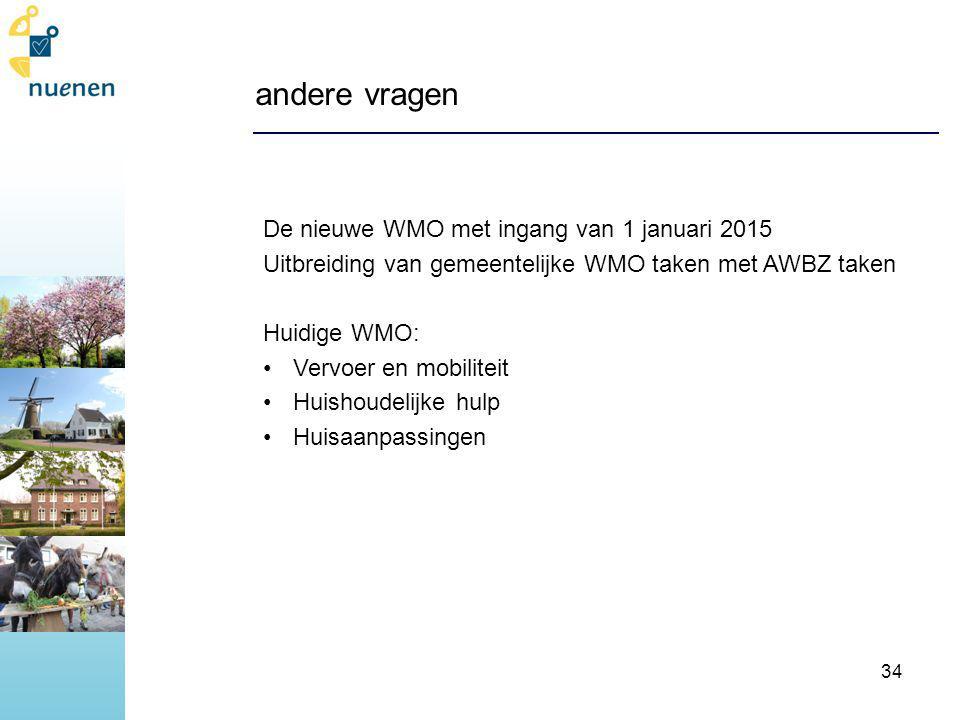 andere vragen De nieuwe WMO met ingang van 1 januari 2015