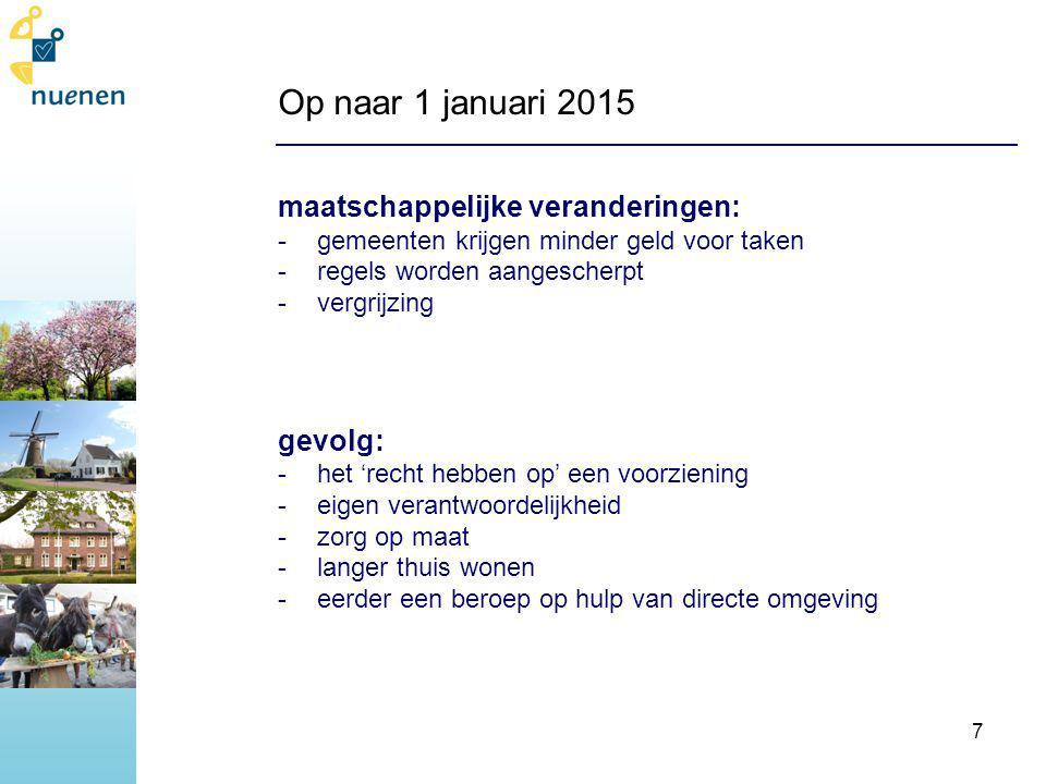 Op naar 1 januari 2015 maatschappelijke veranderingen: gevolg:
