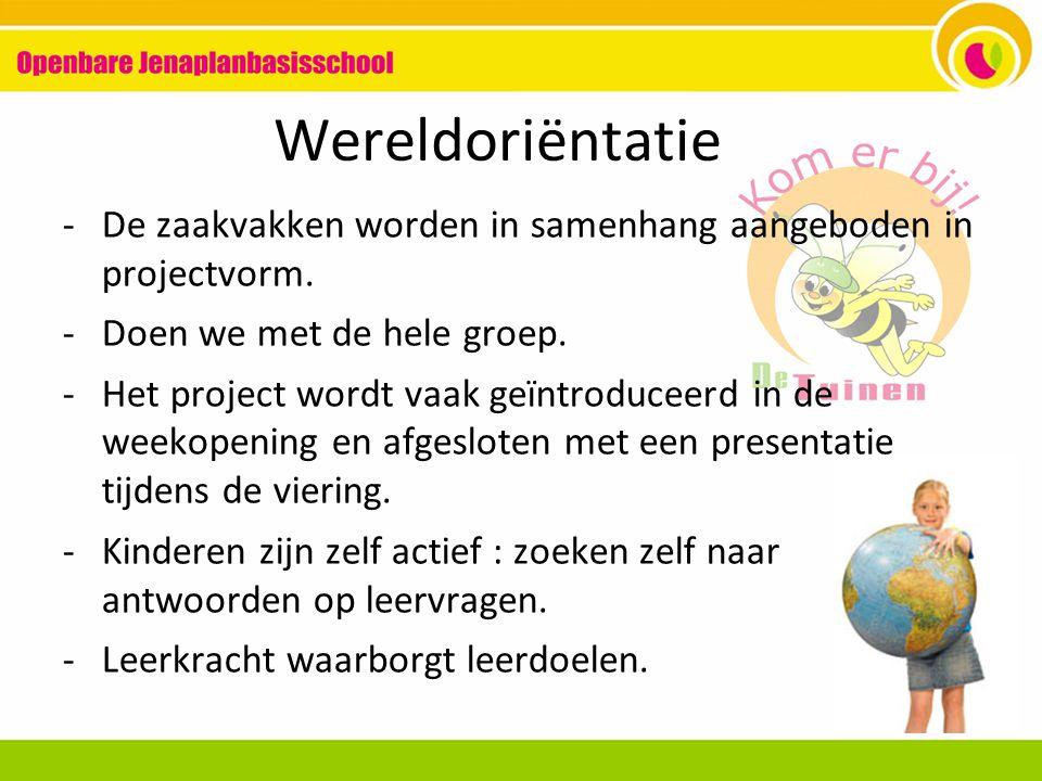 Wereldoriëntatie De zaakvakken worden in samenhang aangeboden in projectvorm. Doen we met de hele groep.