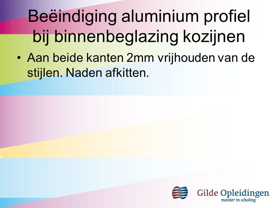 Beëindiging aluminium profiel bij binnenbeglazing kozijnen