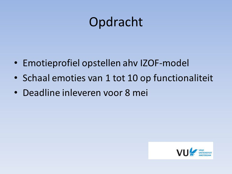 Opdracht Emotieprofiel opstellen ahv IZOF-model