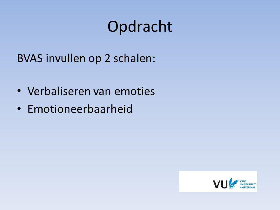 Opdracht BVAS invullen op 2 schalen: Verbaliseren van emoties