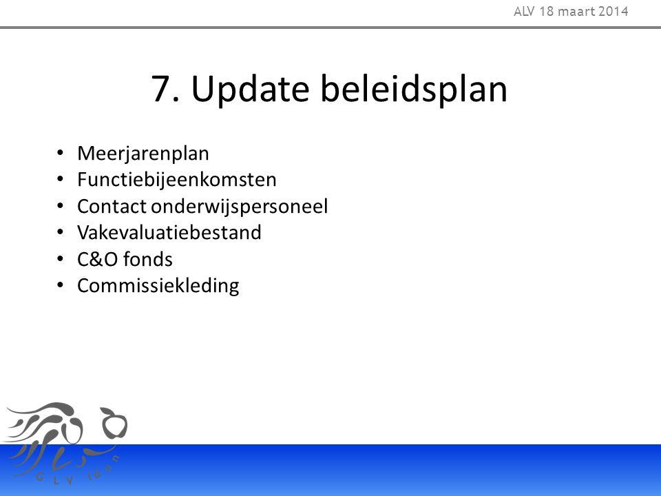 7. Update beleidsplan Meerjarenplan Functiebijeenkomsten