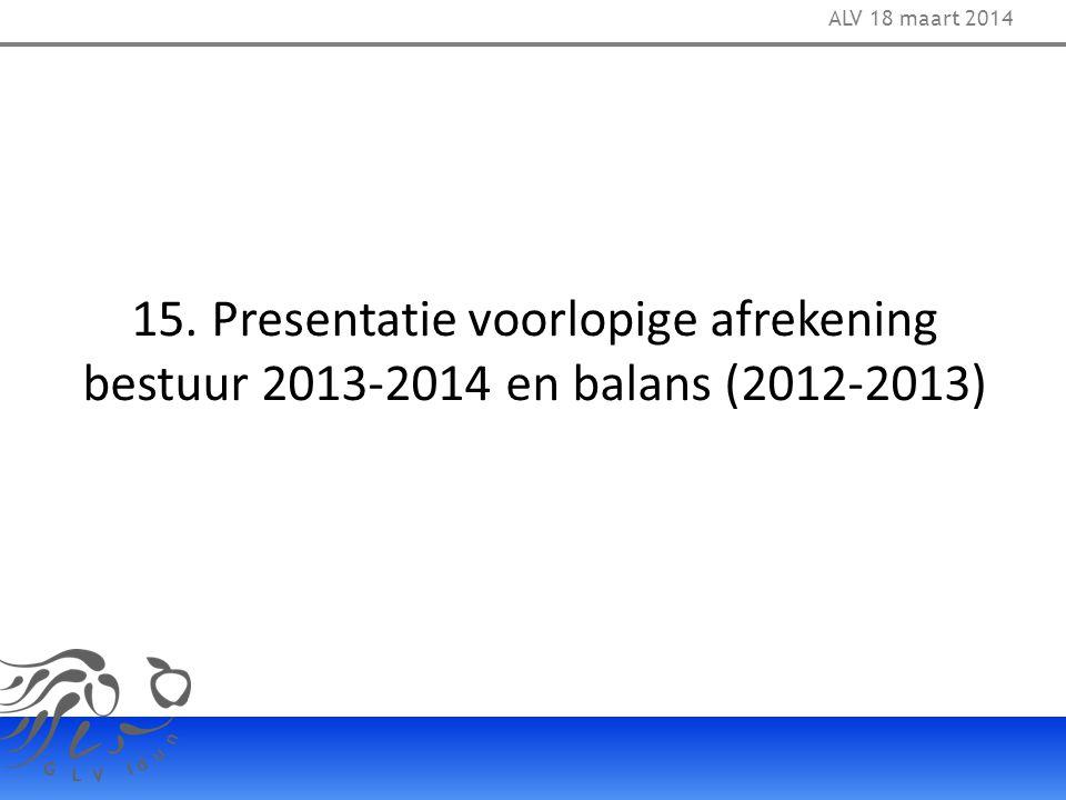 ALV 18 maart 2014 15. Presentatie voorlopige afrekening bestuur 2013-2014 en balans (2012-2013) 33