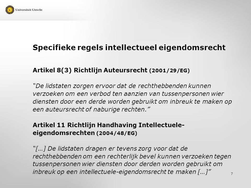 Specifieke regels intellectueel eigendomsrecht