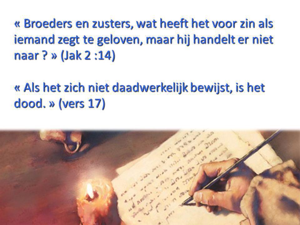 « Broeders en zusters, wat heeft het voor zin als iemand zegt te geloven, maar hij handelt er niet naar » (Jak 2 :14)
