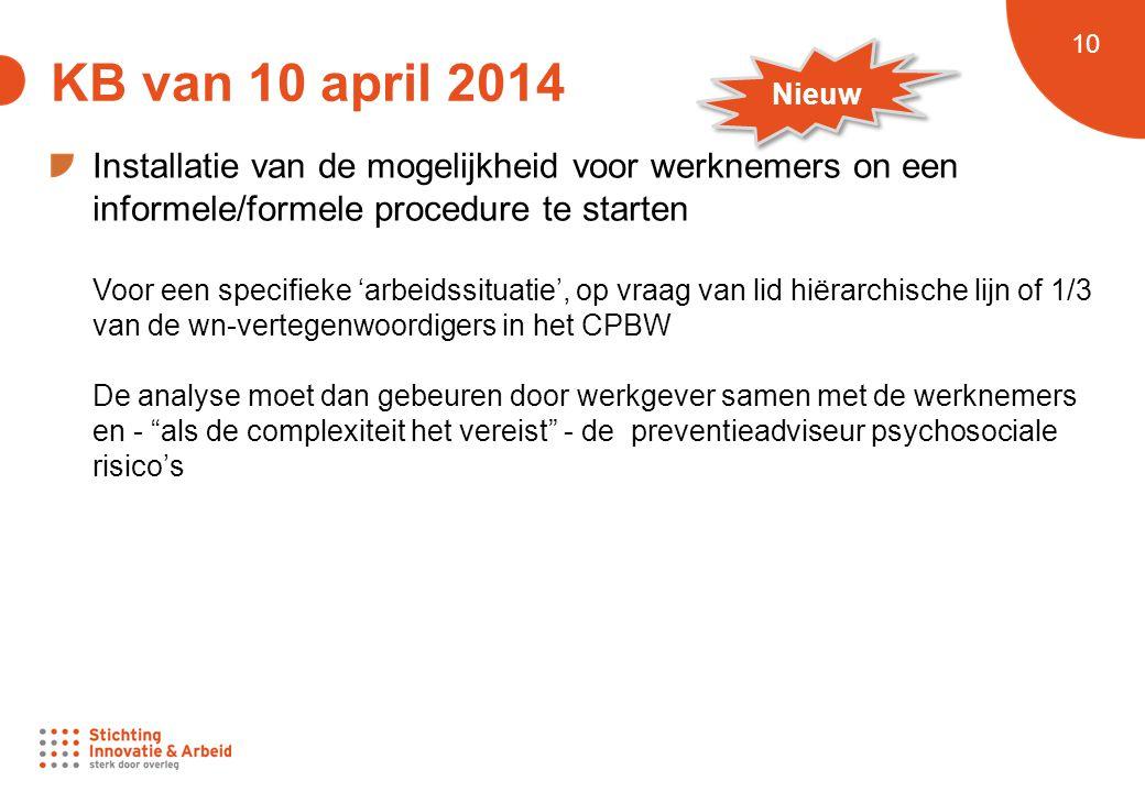 KB van 10 april 2014 Nieuw. Installatie van de mogelijkheid voor werknemers on een informele/formele procedure te starten.