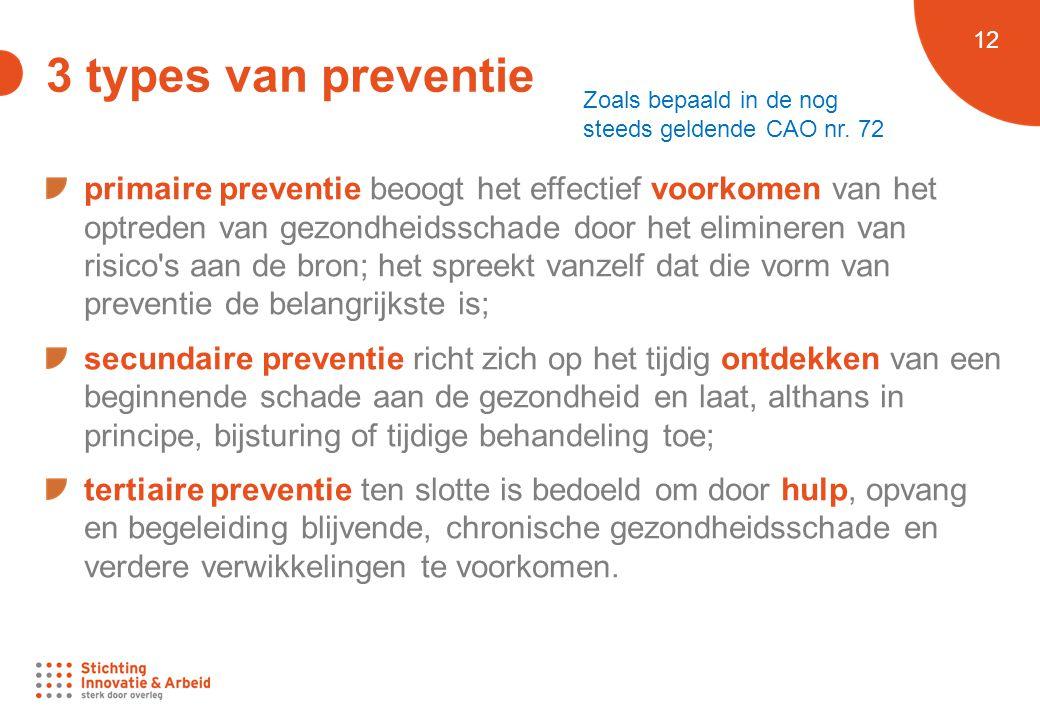 3 types van preventie Zoals bepaald in de nog steeds geldende CAO nr. 72.