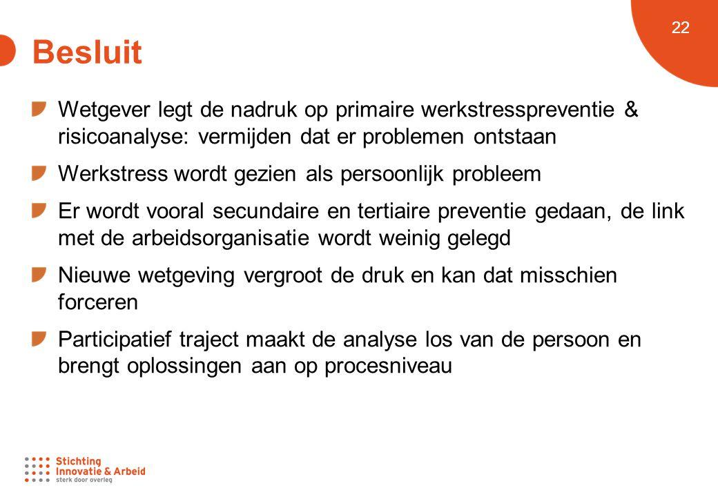 Besluit Wetgever legt de nadruk op primaire werkstresspreventie & risicoanalyse: vermijden dat er problemen ontstaan.