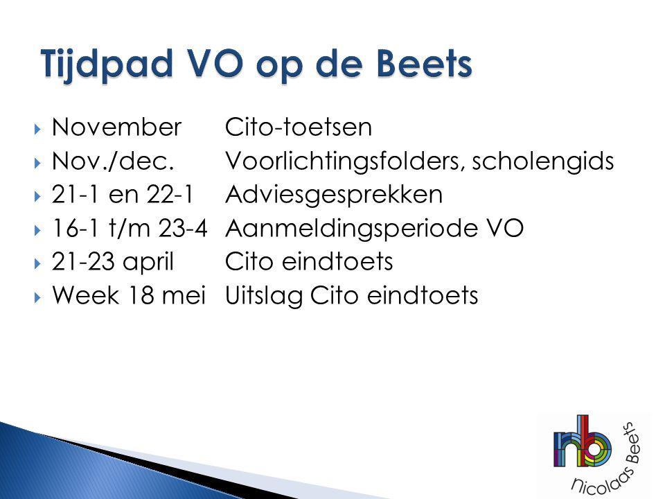 Tijdpad VO op de Beets November Cito-toetsen