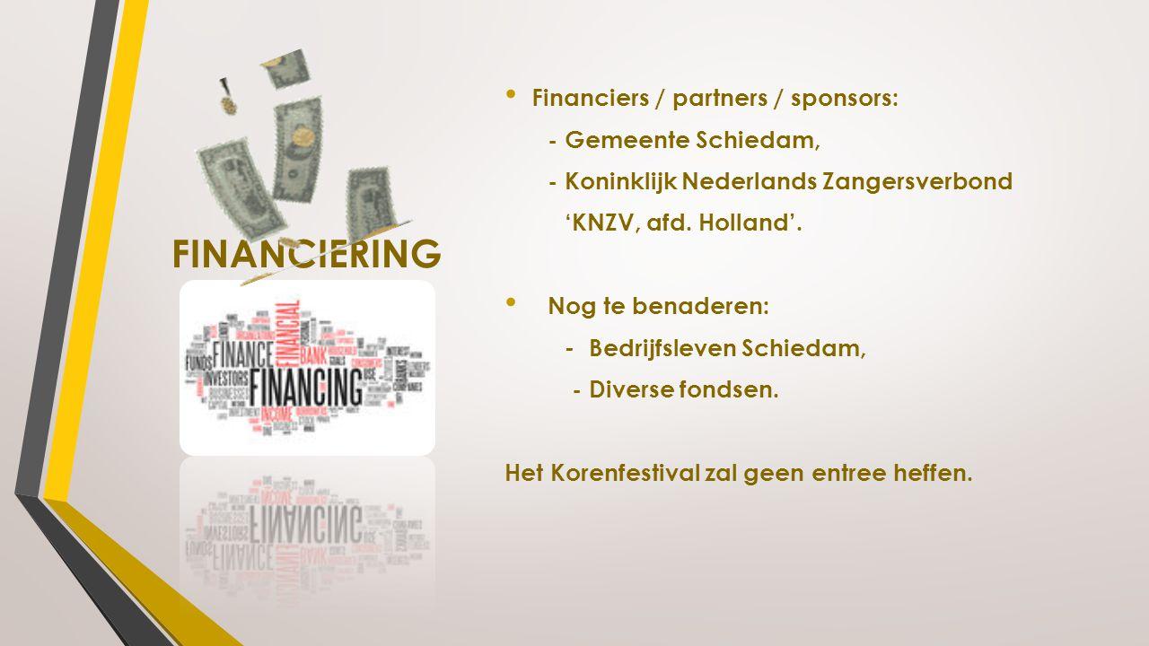 FINANCIERING Financiers / partners / sponsors: - Gemeente Schiedam,