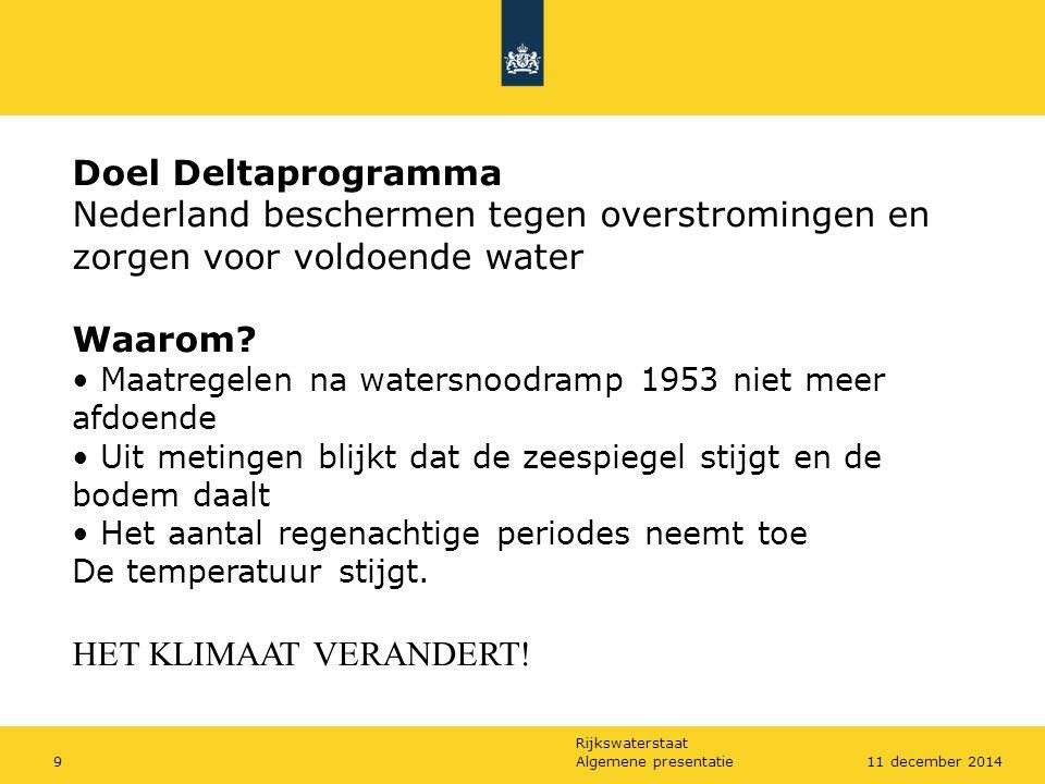 Doel Deltaprogramma Nederland beschermen tegen overstromingen en zorgen voor voldoende water. Waarom