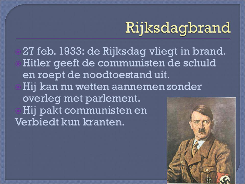 Rijksdagbrand 27 feb. 1933: de Rijksdag vliegt in brand.