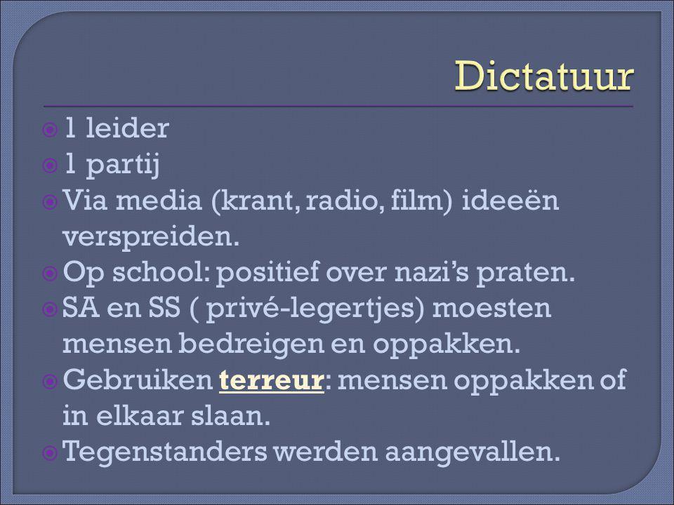 Dictatuur 1 leider 1 partij