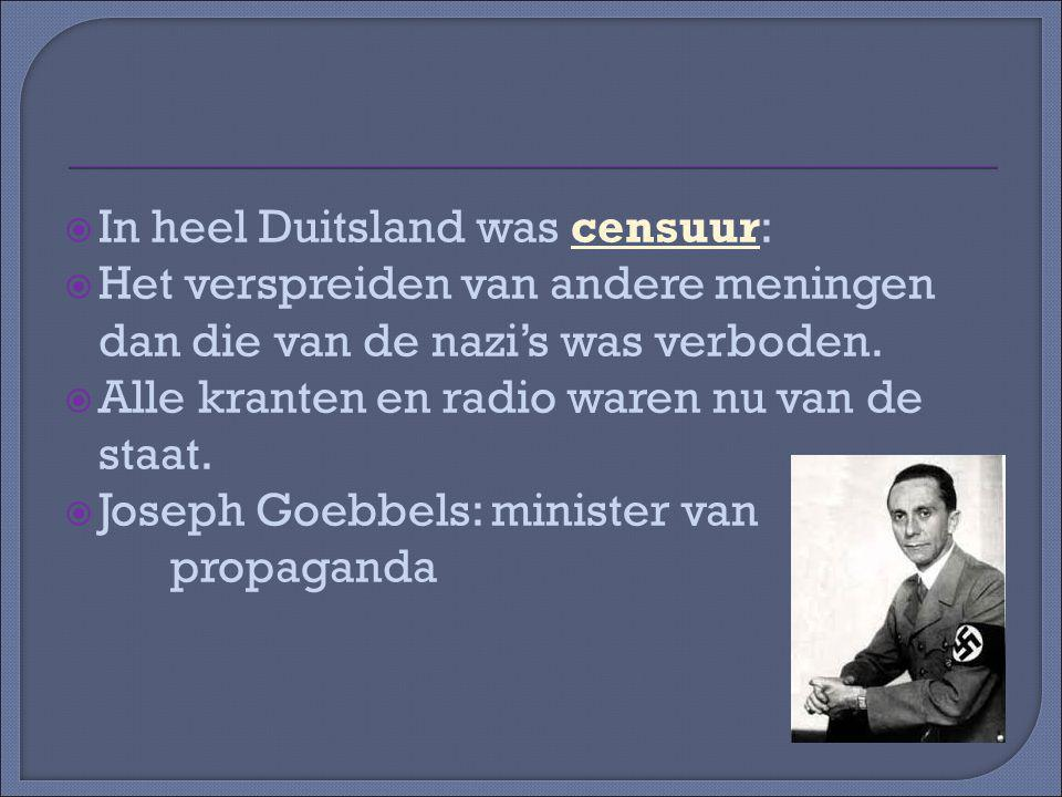 In heel Duitsland was censuur: