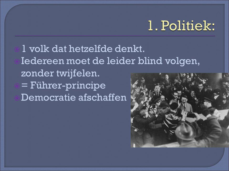 1. Politiek: 1 volk dat hetzelfde denkt.