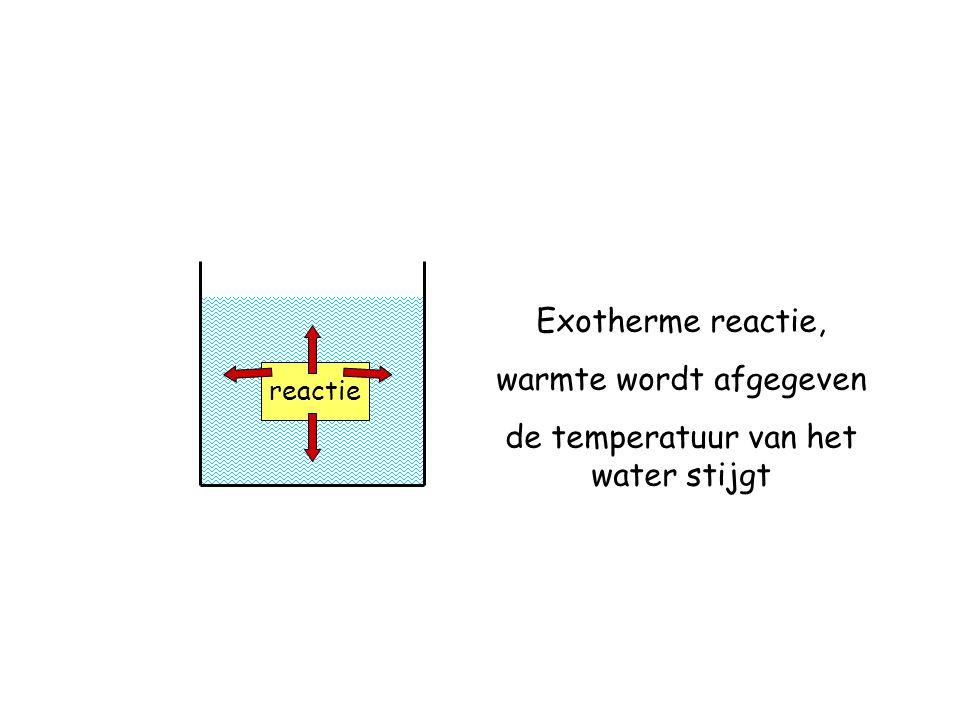 warmte wordt afgegeven de temperatuur van het water stijgt