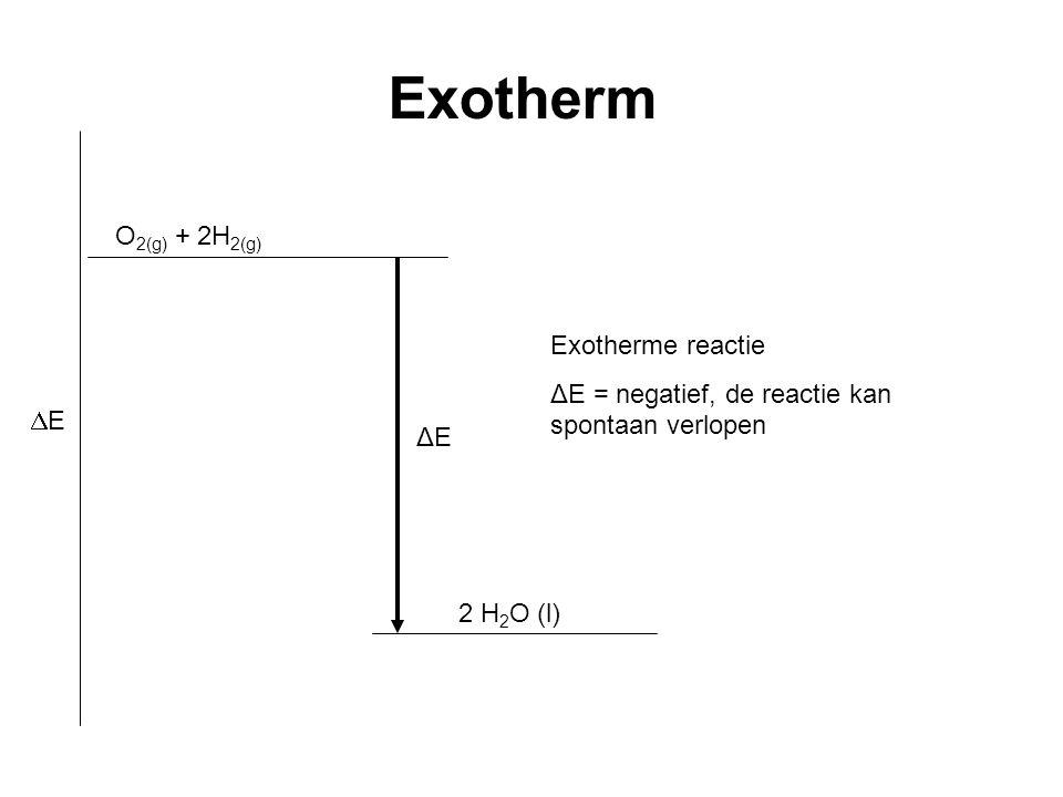 Exotherm O2(g) + 2H2(g) Exotherme reactie