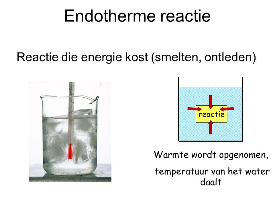 Endotherme reactie Reactie die energie kost (smelten, ontleden)