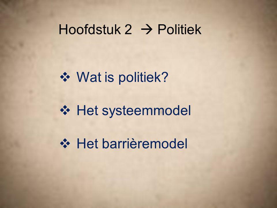 Hoofdstuk 2  Politiek Wat is politiek Het systeemmodel Het barrièremodel