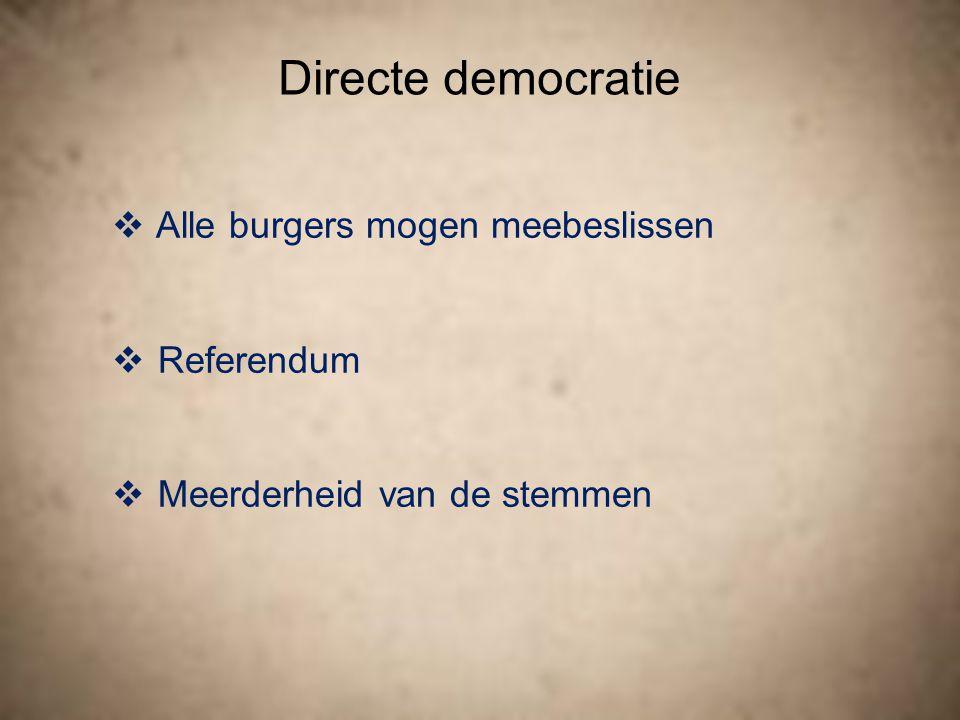 Directe democratie Alle burgers mogen meebeslissen Referendum