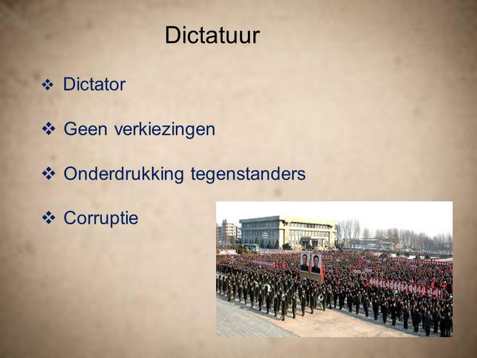 Dictatuur Geen verkiezingen Onderdrukking tegenstanders Corruptie