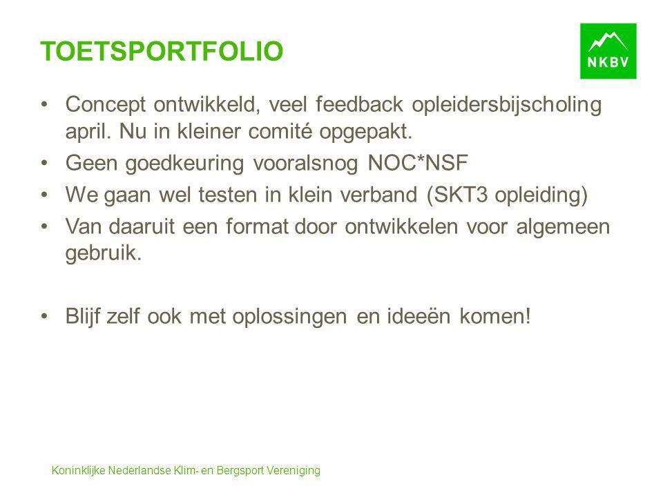 Toetsportfolio Concept ontwikkeld, veel feedback opleidersbijscholing april. Nu in kleiner comité opgepakt.
