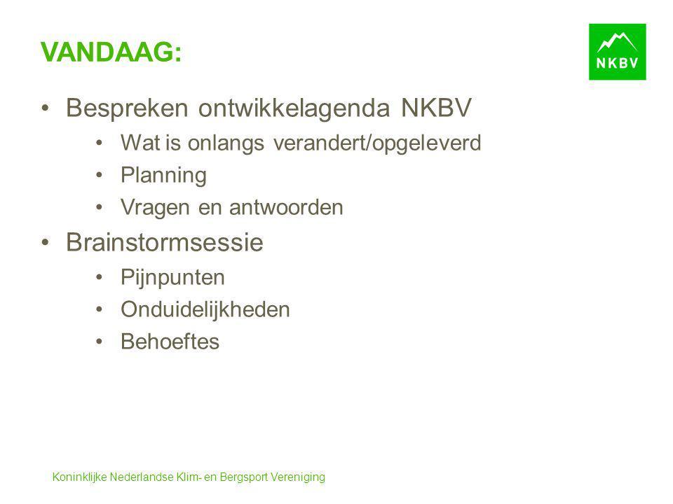 Vandaag: Bespreken ontwikkelagenda NKBV Brainstormsessie