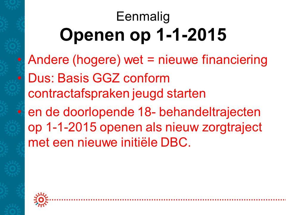 Eenmalig Openen op 1-1-2015 Andere (hogere) wet = nieuwe financiering. Dus: Basis GGZ conform contractafspraken jeugd starten.