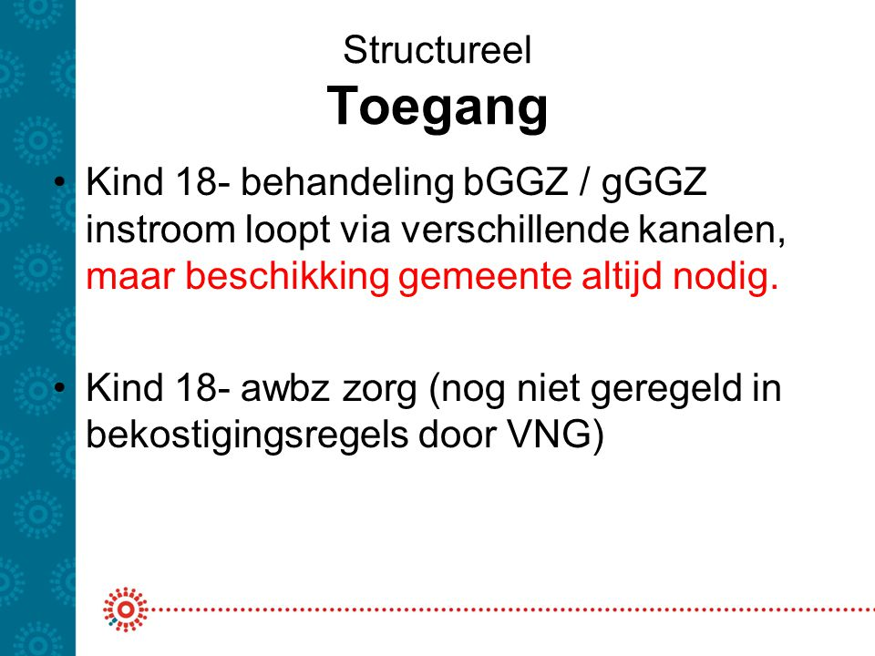 Structureel Toegang Kind 18- behandeling bGGZ / gGGZ instroom loopt via verschillende kanalen, maar beschikking gemeente altijd nodig.