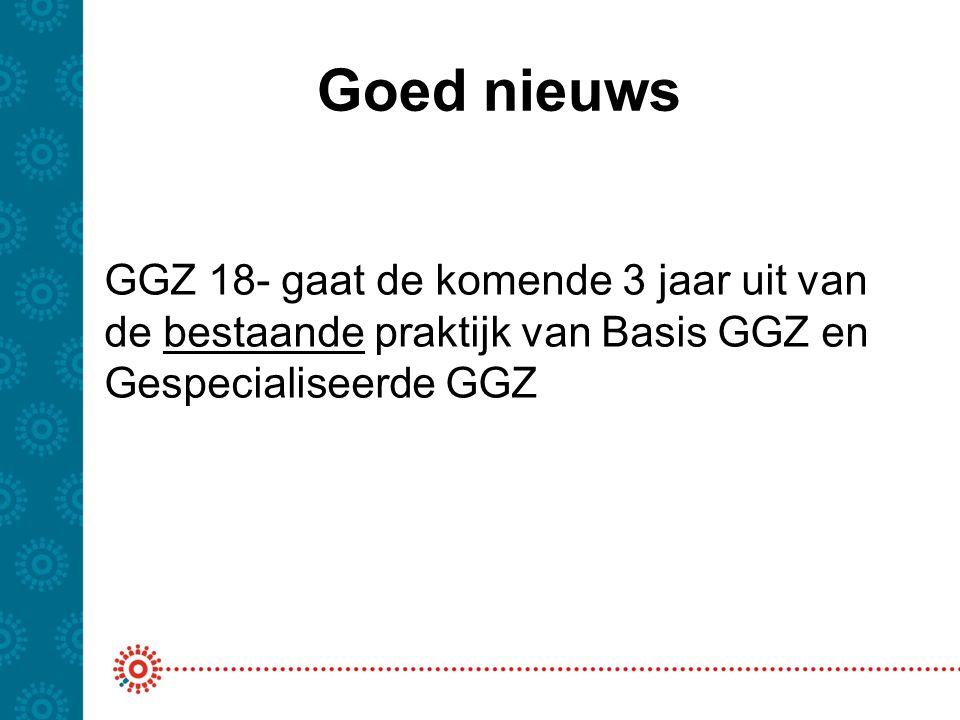 Goed nieuws GGZ 18- gaat de komende 3 jaar uit van de bestaande praktijk van Basis GGZ en Gespecialiseerde GGZ.