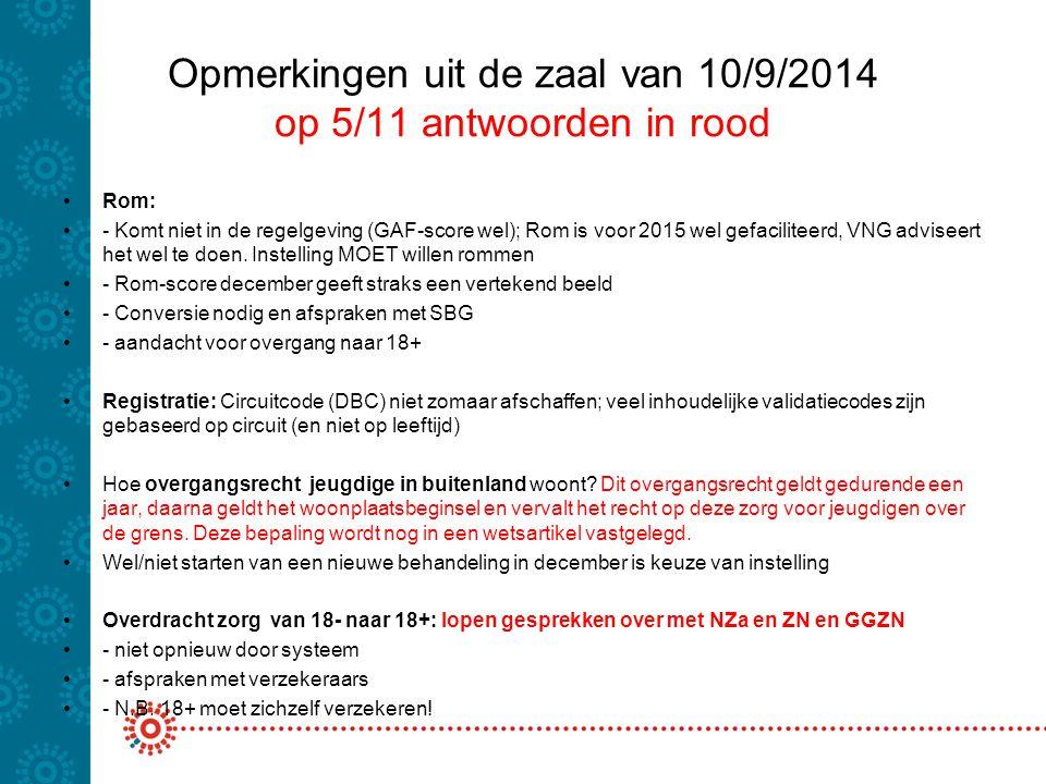 Opmerkingen uit de zaal van 10/9/2014 op 5/11 antwoorden in rood