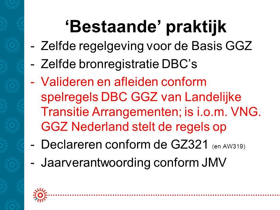 'Bestaande' praktijk Zelfde regelgeving voor de Basis GGZ