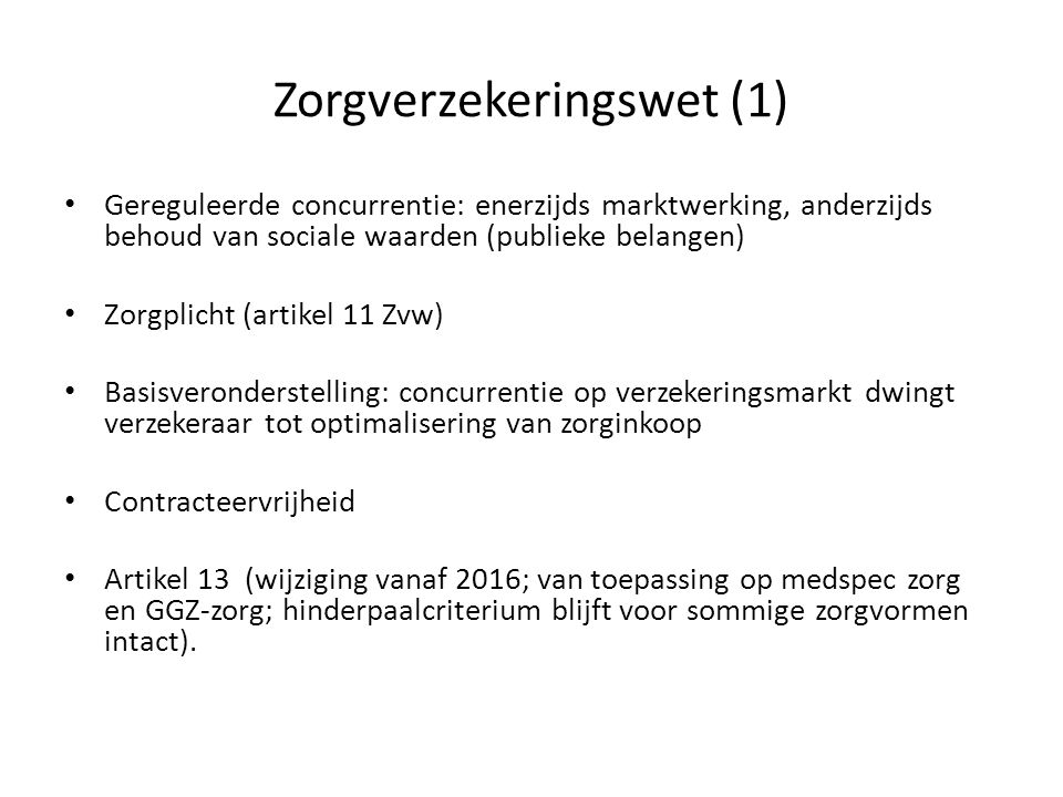 Zorgverzekeringswet (1)