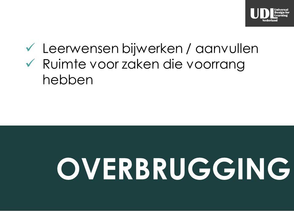 OVERBRUGGING Leerwensen bijwerken / aanvullen