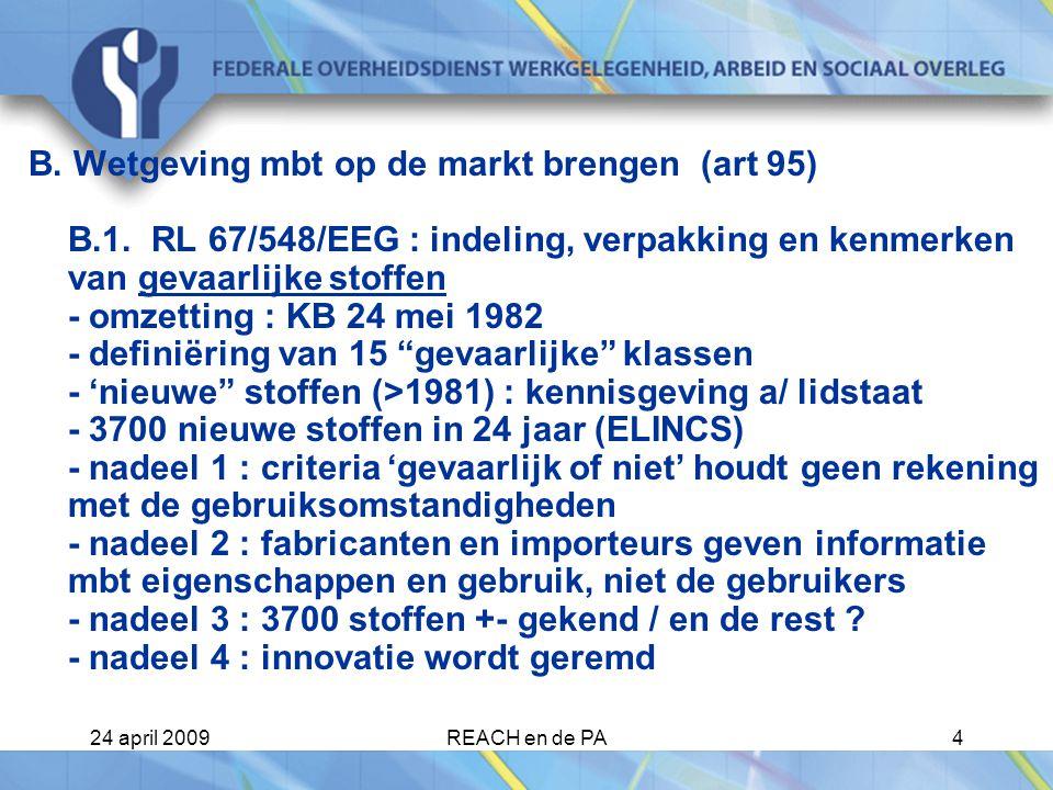 B. Wetgeving mbt op de markt brengen (art 95) B. 1