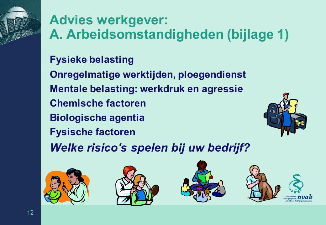 Advies werkgever: A. Arbeidsomstandigheden (bijlage 1)