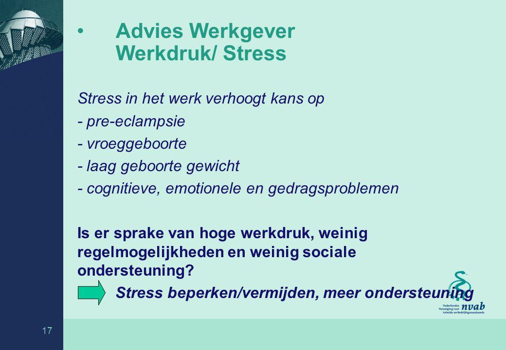 Advies Werkgever Werkdruk/ Stress
