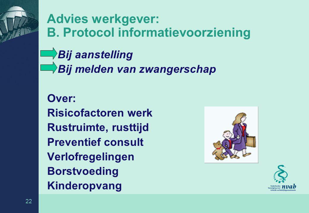 Advies werkgever: B. Protocol informatievoorziening