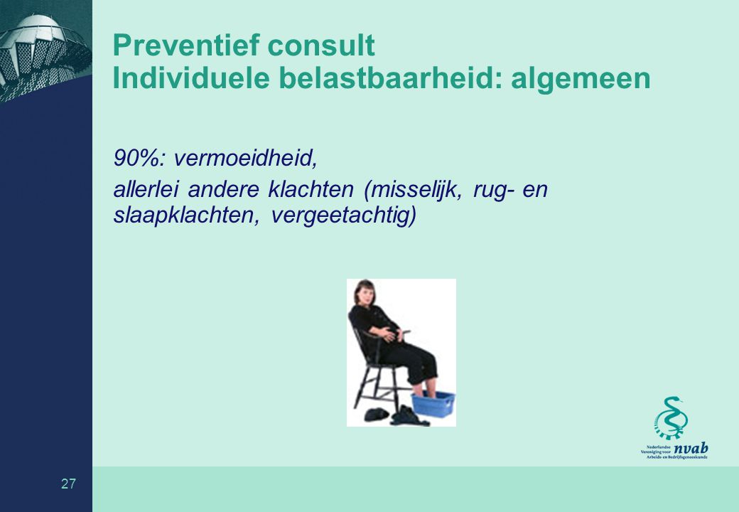 Preventief consult Individuele belastbaarheid: algemeen